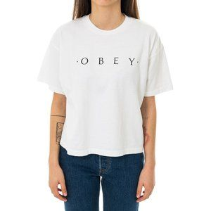 NEW Obey Crew Neck Spellout Crop Tee Shirt